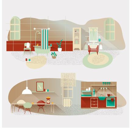 Vintage interior vector set. Kitchen and bathroom Vectores