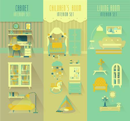 Children room, cabinet, living room interior vector set