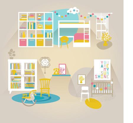 Children room interior vector set Vectores