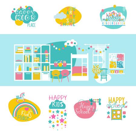 Speel en leer, vroegtijdig ontwikkelen. Kleuterschool Interieur en Logotypes Set. Vlakke stijl vectorillustratie.