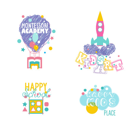 Play and Learn, Early developing. Preschool Logotypes Set.