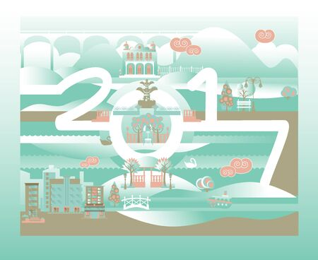 Merry Xmas and Happy New Year greeting design with numbers 2017 and cityscape Vectores