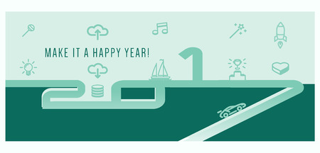 Make it a Happy Year. Inspiration greeting banner design with numbers 2017 and greeting icons Vectores