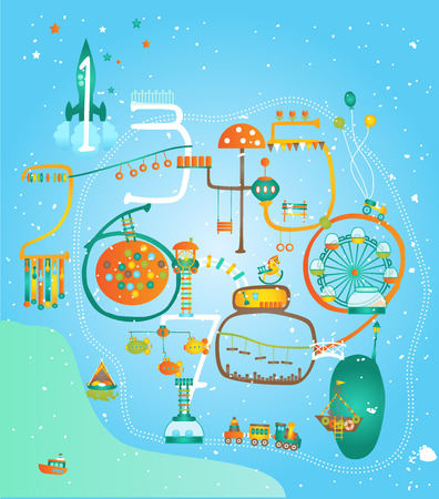 theme park: Theme park with numbers. Attraction and playgrounds. Illustration