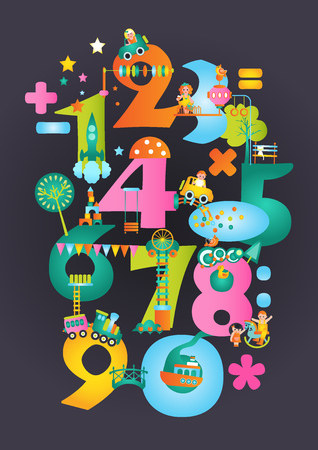 Theme park with numbers. Attraction and playgrounds. Vectores