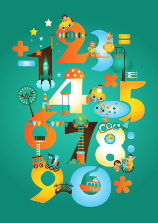 attraction: Theme park with numbers. Attraction and playgrounds. Illustration