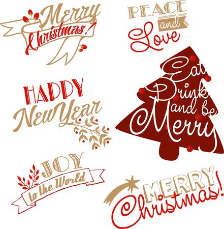 Christmas and NY lettering set Vectores