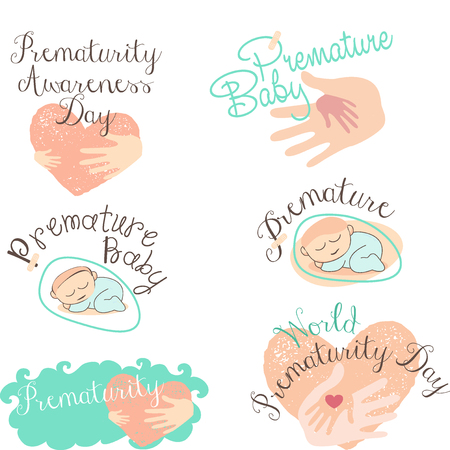 poronienie: Set of logotypes and icons for Prematurity Day and Premature baby