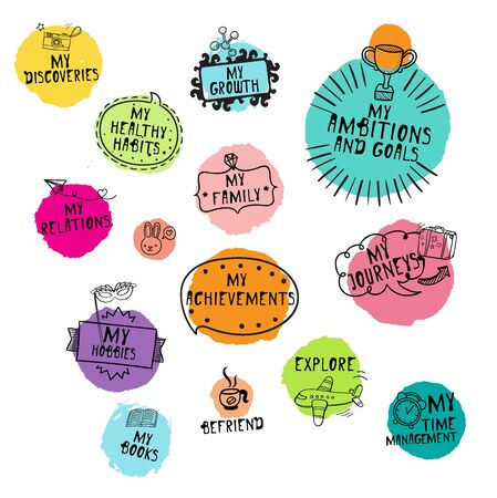 Event planning lettering icons