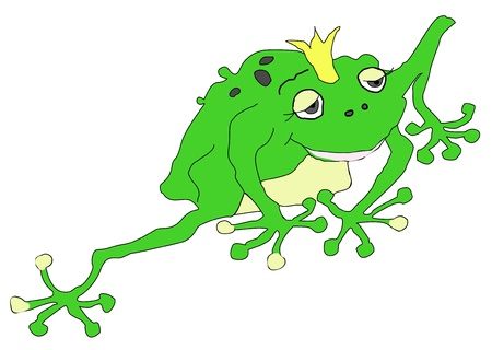 froggy: The Green Frog Princess from Fairy Tale Illustration