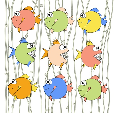 Background with colorful fishes and sea grass Vector