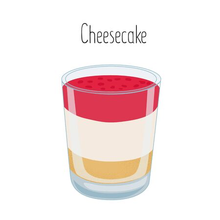 The three layer berry cheesecake in a glass stock vector illustration