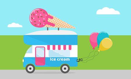 Ice cream truck, van, mobile shop, stock vector illustration Ilustração