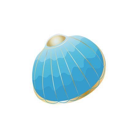 Golden blue sea shell stock vector illustration isolated on white background