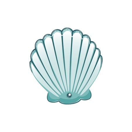 Turquoise teal sea shell stock vector illustration isolated on white background.