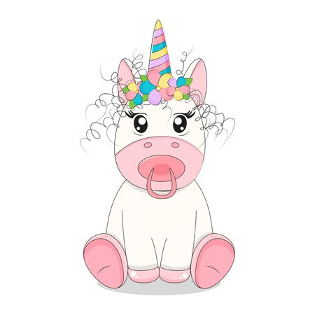 Cute little baby unicorn with curly hair stock vector illustration.