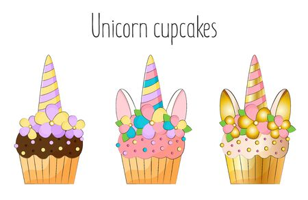 Unicorn cupcakes on white background stock vector illustration Illustration