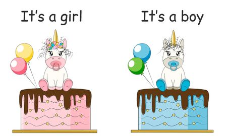 Its a girl, its a boy set. Baby shower party decoration, invitation, poster...