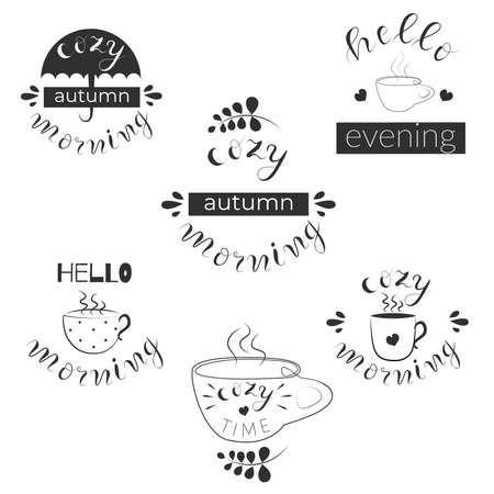 Set of 6 handwritten fall quotes. Cozy autumn morning, hello evening, morning, cozy time, vector illustration
