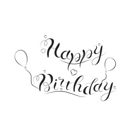 Happy birthday calligraphy text lettering with balloons and hearts, greeting card, banner vector illustration.