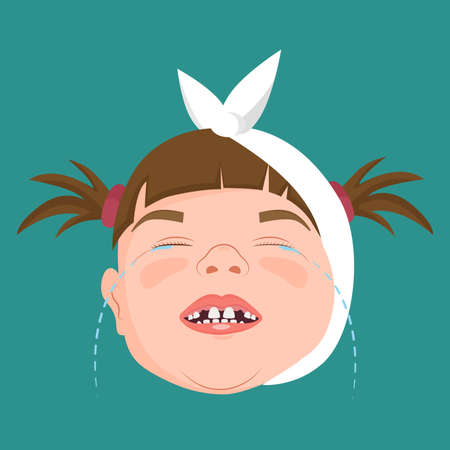 Little girl with swollen cheek crying because of toothache, vector illustration. Stock fotó - 155818633