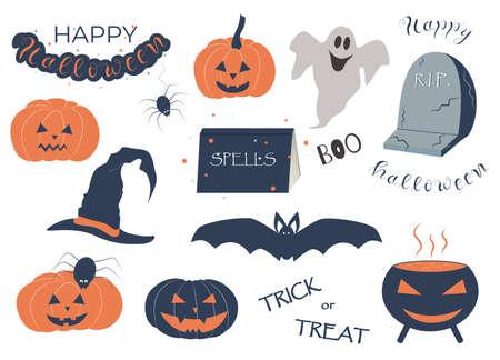 Funny halloween set, pumpkins, bat, book, lettering, vector illustration.