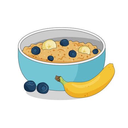 Oatmeal porridge in a bowl with banabas and blueberries, healthy breakfast, vector illustration. Ilustração
