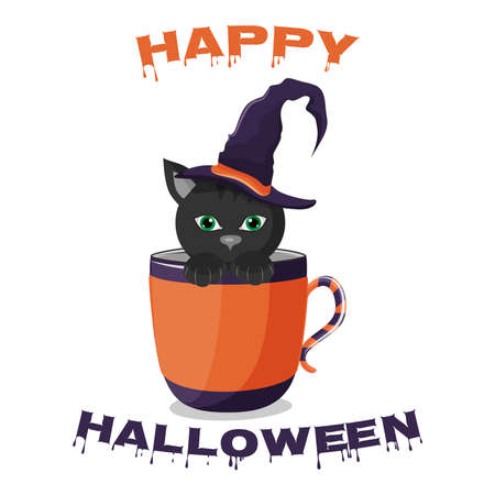 Happy halloween text, black cat in a witch hat sitting in a cup, vector illustration.