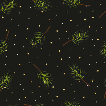 Christmas tree branches seamless pattern on black background, vector illustration.