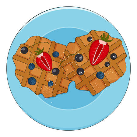 Belgian waffles with blackcurrant, strawberry, blueberries on the plate, tasty homemade bakery, vector illustration. Illustration