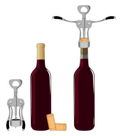 Bottles of wine and corkscrew isolated on white background vector illustration. 向量圖像