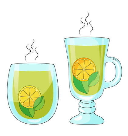 Green tea in a glass cup isolated on white background vector illustration.