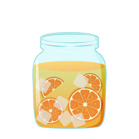 Fresh orange juice in mason jar, glass mug. Stock vector illustration. Vettoriali