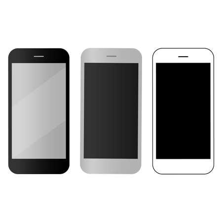 Mobile, smartphones icons set stock vector illustration. Illustration