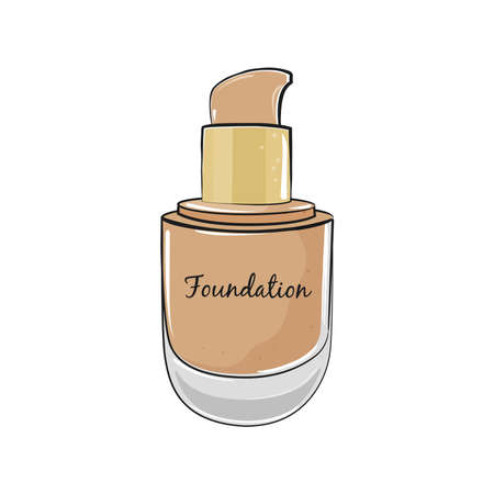 Beige foundation for skin make up in elegant bottle isolated on white background. Vector illustration.