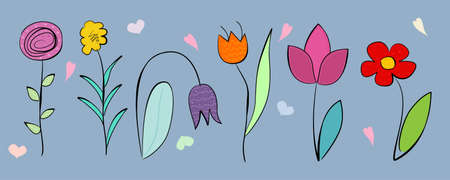 Handdrawn flowers, cartoon and doodle style. Vector illustration.