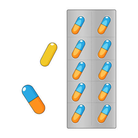 Pills, tablets in blisters, medical concept. Vector illustration.