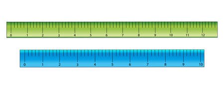 Green and blue rulers in cm, school supplies. Vector illustration.