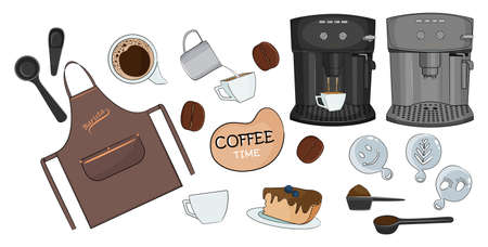 Coffee set of different tools for barista, cafe and home use. Vector illustration.