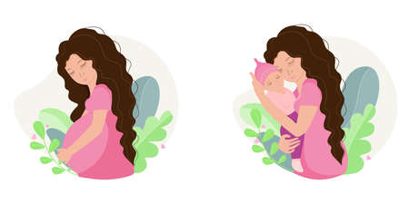 Beautiful woman pregnant and holding baby in her arms. Motherhood concept. Vector illustration. Иллюстрация