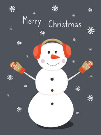 Cute snowman wears headphones and mittens. Christmas card. Vector illustration.