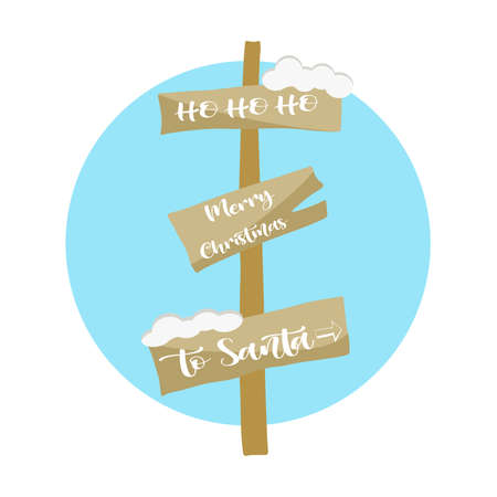 Christmas wooden signpost in doodle style. Vector illustration.