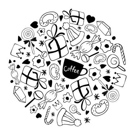 Circle of winter elements. Hat, gift boxes, candy, decorations in doodle style. Vector illustration.