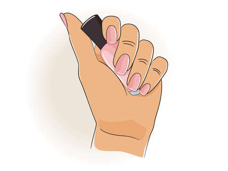 Woman hand holds a bottle of pink nail polish. Beauty concept. Vector illustration.