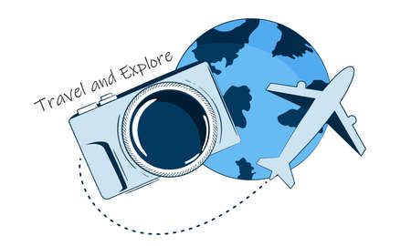 Travel concept. Earth camera plane. Abstract vector illustration.