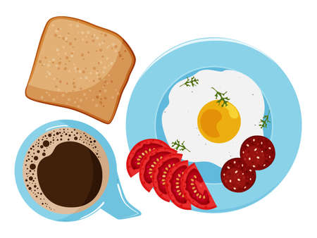 Morning healthy breakfast. Plate with fried egg, sausage, bread and tomatoes. Coffee cup. Vector illustration.