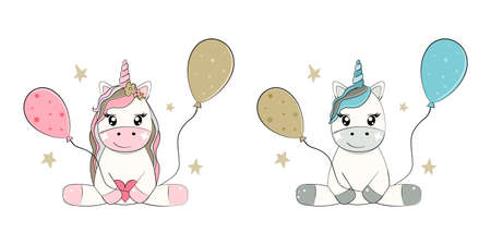 Cute unicorns boy and girl. Birthday party, baby shower greeting card. Vector illustration.