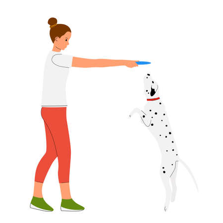 Girl playing with her dalmatian dog. Pet owner vector illustration.