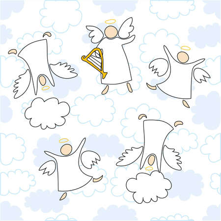 angels playing and dancing Stock Vector - 9817214