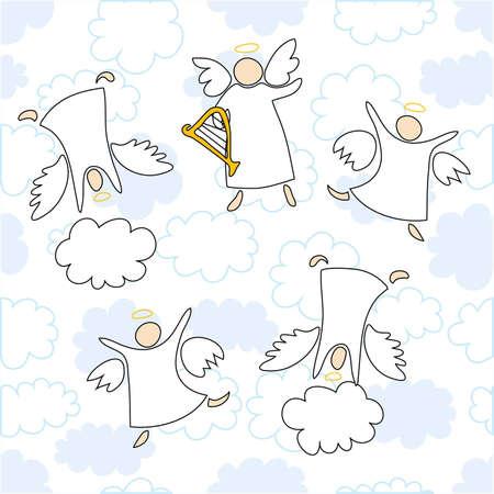cherub: angels playing and dancing Illustration
